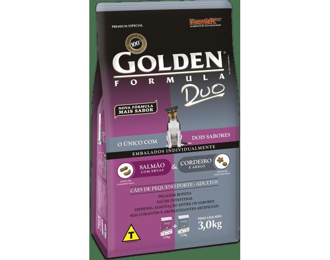 Golden Fórmula Duo Cães Adultos Pequeno Porte Salmão Ervas & Cordeiro e Arroz - 3kg