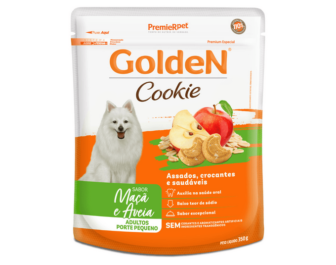 Golden Cookie Cães Adultos Porte Pequeno Sabor Maçã e Aveia - 350G